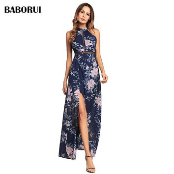 Baborui Fashion Print Floral Halter Dress Chic Sexy Retro Bustier Summer Floor-length Sleeveless Pink Blue Sexy Dress 1190
