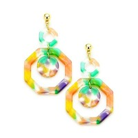 Multi Color Celluloid Double Octagon Dangle Gold Earrings