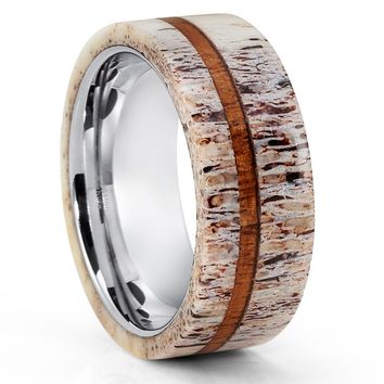 Deer Antler Ring - Deer Antler Wedding Band - Tungsten Wedding Ring - 8mm