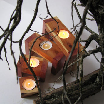 Stacking tea light candle holders. Juniper wood candle holder.