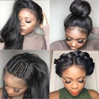 Lace Front Human Hair Wigs Peruvian Straight Full Lace Human Hair Wigs With Baby Hair Glueless Full Lace Wigs