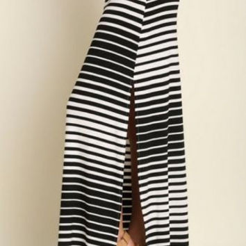 UMGEE black white side slit striped maxi skirt women S M L