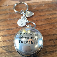 For Our Adventures Together Compass Keychain Silver