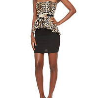 Contrast Tube Top Peplum Dress With Attached Belt
