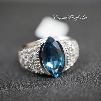 Topaz Ring - Genuine London Blue Topaz Ring - White Topaz Ring - Engagement Ring - Fine Gemstone Ring - Size 8  Sterling Silver Diamond Ring