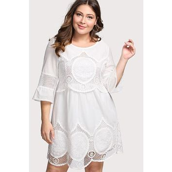 Hollow Out Crochet Panel White Dress