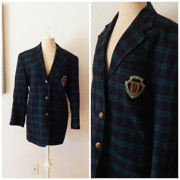 Vintage 90s DKNY Womens Blue Green Check Plaid Wool Cashmere Blazer Schoolboy Coat