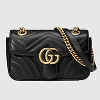 Gucci Classic Popular Women Shopping Leather Double G Letter Crossbody Satchel Shoulder Bag