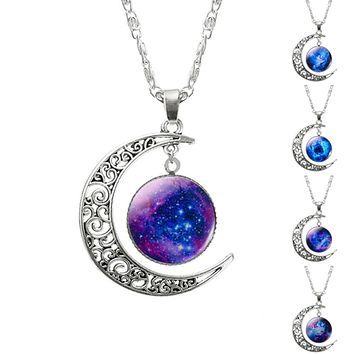 Silver Chain Glass Pendant Moon Galaxy Necklace