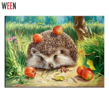 Oil Hedgehog Painting by Numbers Wall Pictures for Living Room Cuadros Canvas DIY Digital Coloring Art Home Decor Child New Gift