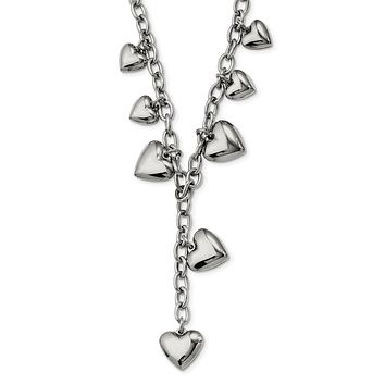 Stainless Steel Puffed Hearts Y Necklace - 18 Inch