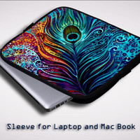 Peacock feathers Painting Sleeve for Laptop, Macbook Pro, Macbook Air (Twin Sides)