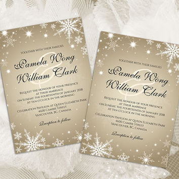 DIY Printable Wedding Invitation Card Template | Editable MS Word file | 5 x 7 | Instant Download | Winter White Snowflakes Champagne Gold