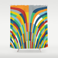 Rainbow Bricks #2 Shower Curtain by Project M