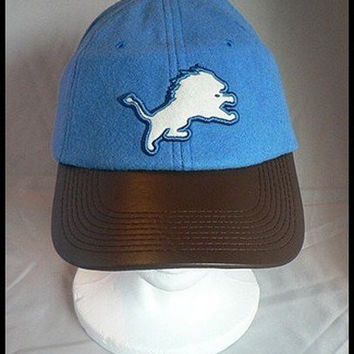 Detroit Lions Leather Bill Hat by Reebok NFL NWT Football