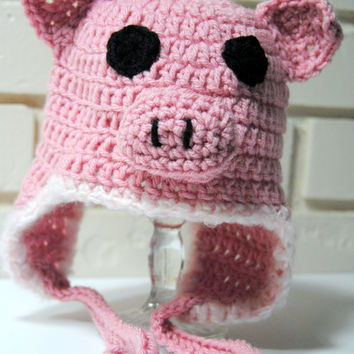 Crochet Baby Pig Hat, Farm Animal Hat, Spring Hat, Crochet Animal Hat, Toddler Girls Crochet Hat, Newborn, Baby, Infant, Kids Country Girl
