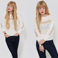Vintage SLOUCHY Sweater Pointelle  DOLMAN Sleeve Jumper White with Gold Tinsel FOLK Holiday Sweater