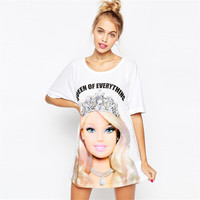 2016 New Arrival Women Summer Dress Spring Fashion Cartoon Barbie Letters Print Cute Princess Short Sleeve Loose Tshirt Dress