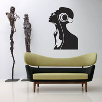 Wall Decal Vinyl Sticker Decals Art Decor Woman Black Music Headphones Singer live Sing Songs Record Perfomence (r55)