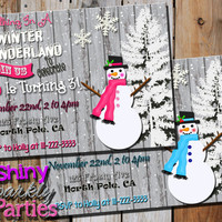 WINTER WONDERLAND INVITATION - Snowman Birthday Invite - Snowman Party - Winter Birthday - Christmas Birthday boy or girl rustic snowmen