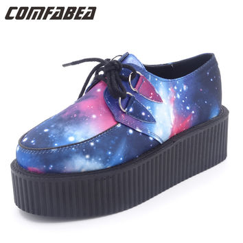 Spring HARAJUKU VIVI  galaxy blue flat creepers platform shoes for woman casual women punk creeper pattern Shoes ladies Girls