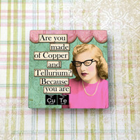 "Nerdy Retro Girls Funny Magnet You Are Cute, Smart Girl Humor, 2"" (5cm) Ceramic Tile Magnet for Refrigerator, Fridge, Cubicle Decor, Dorm"