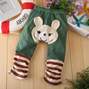 Unisex Boy Girl Baby Leggings PP Pants Cute Cartoon Aanimal Pattern Baby PP Pants Autumn Spring Kids Pants Cotton Trousers