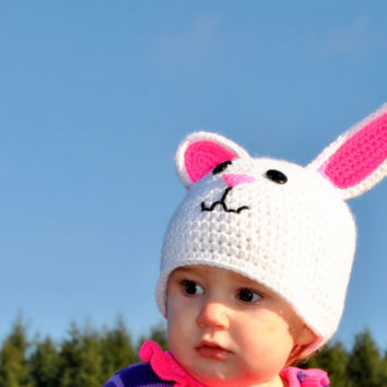 Crochet Bunny Rabbit Hat, Infant Photo Prop, Rabbit Beanie, Girls Spring Hat, Toddler Girls Crochet Hats, White Rabbit Hat, Farm Animal Hat