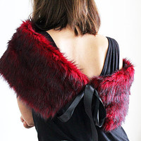 Shrugs Boleros, Red and Black Fur Shrug, Faux Fur Shawl, Shoulder Wrap, Polyester faux fur Shawl , party, Christmas gift Women