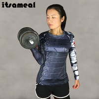 Winter Soldier Compression Shirt 3D Printed T-shirts Women Captain America Long Sleeve Cosplay Tops Female Halloween Costumes