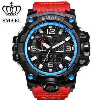 SMAEL Luxury Brand Mens Sports Watches LED Digital Clock Fashion Casual Watch Analog-Digital relogio militar Male Clock WS1545