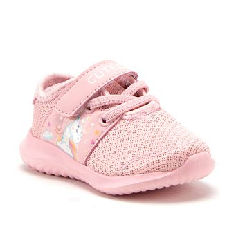 Toddler Little Girls Unicorn Faux Lace Easy On School Sports Shoes Sneakers