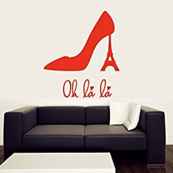 Wall Decal Vinyl Sticker Decals Art Decor Design Sign Oh La La Paris Eiffel Tower Shoes Heel Women France Love Living Room Bedroom (r408)