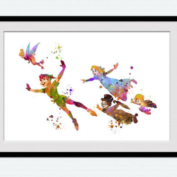 Peter Pan Watercolor Art Print Peter Pan From Colorfulprint On