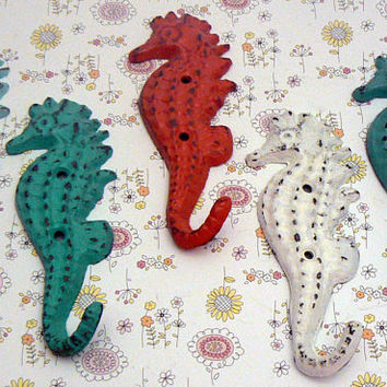 Seahorse Hooks Lot of 5 Cast Iron Nautical Sea Horse Leash Scarf Jewelry Set of Hooks Aqua Turquoise Coral White Beach Cottage Chic Blue