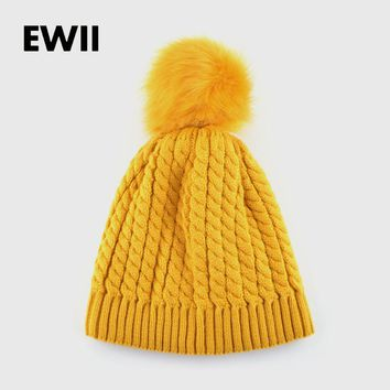 2017 female winter hat knitted hats for women beanie knitted cap interwoven pattern women beanies warm bonnet Nagymaros ballbone
