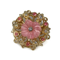 Pink Thermoset Coro Brooch Pink Clear Rhinestones Pre-1955 Early Coro Pin