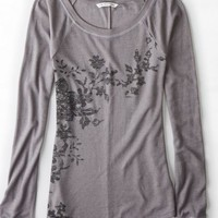 AEO 's Floral Graphic Thermal (Grey Mist)
