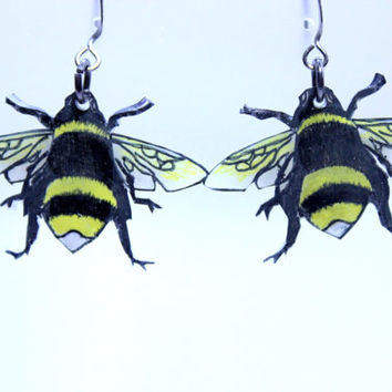 BumbleBee Earrings, Honey Bee Earrings, Handmade BumbleBee Earrings, Shrink Plastic Bee Earrings, Bee Earrings, Original Art Bee Earrings