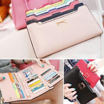Korean Version of sweet and cute bow Multi- Card Handbag Ms. Long Wallet  D_L = 1713110660