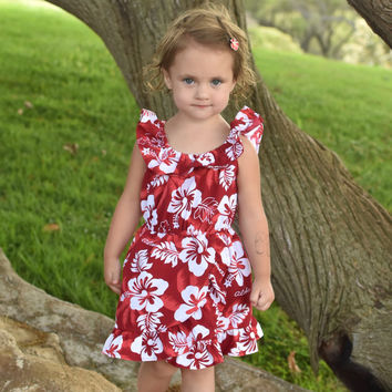 Red Hibiscus Ruffle Dress