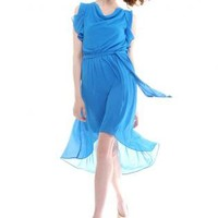 Blue Asymmetrical Chiffon Dress S010435