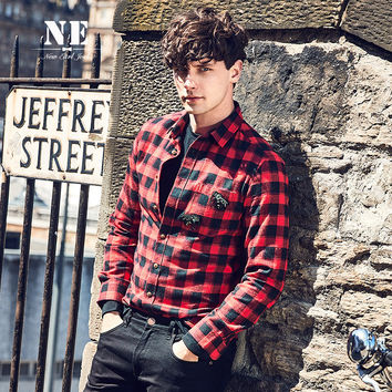 Winter England Style Casual Plaid Long Sleeve Stylish Shaped Shirt [7951226243]