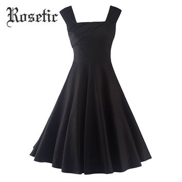 Rosetic Gothic Dress 2017 Summer Black Women Party Festa Dresses Sleeveless Knee-Length A-line Vintage Square Collar Goth Dress