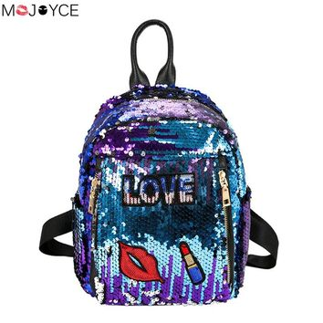 Fashion Cute Girls Sequins Backpack Womens Paillette Leisure Preppy Style Lips School Book Bags Mochila Shoulder Bags Women