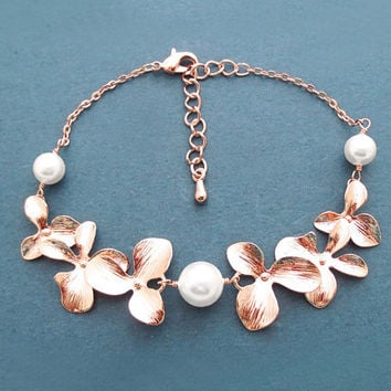 Triple, Pearl, Double, Orchid garden, Gold, Silver, Rose gold, Bracelet, Birthday, Wedding, Anniversary, Engagement, Gift, Jewelry