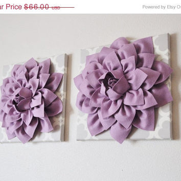 MOTHERS DAY SALE Two Large Flower Wall Hangings -Lilac Dahlias on Neutral Gray Tarika Canvases-