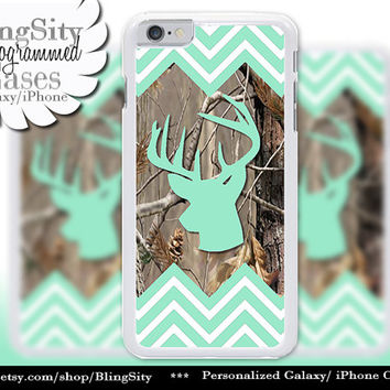 Mint Green Chevrons Camo Iphone 6 Case Buck Head Antlers iPhone 5C 6 Plus Case iPhone 5s Ipod 4 5 Touch case Deer Real Tree Zig Zag