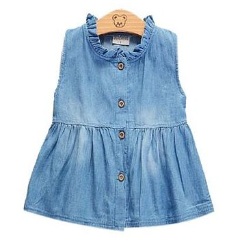 Summer 2017 Denim Baby Girl Princess Sleeveless Dress Kid Baby Party Wedding Single-breasted Dresses Clothes