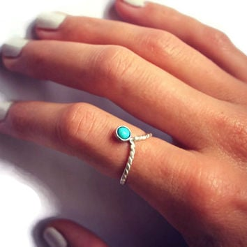 Sterling silver and Turquoise chevron stacking ring, turquoise twist ring, midi ring stack ring